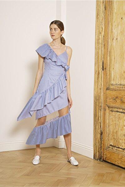 Mehtap Elaidi Kadın Fırfır Detaylı Tül Ve Çizgili Kotonlu Asimetrik Elbise