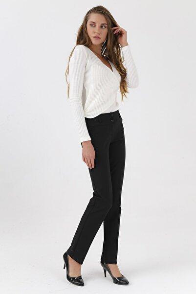 Jument Yüksek Bel Dar Paça Uzun Pantolon -Siyah
