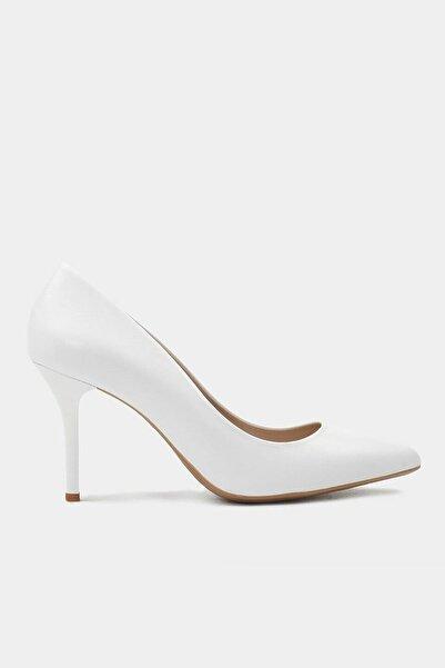 Hakiki Deri Beyaz Kadın Stiletto