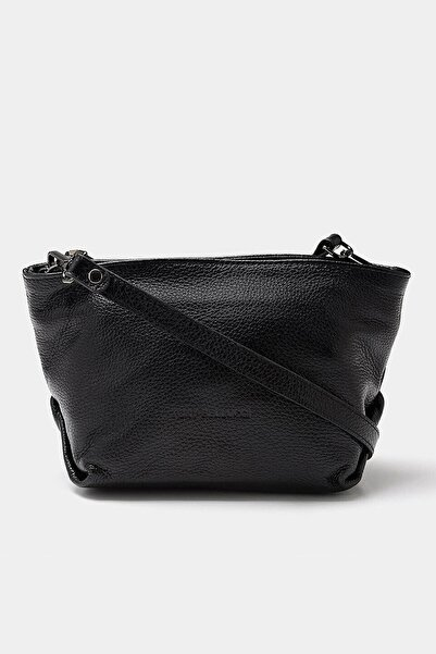 Hotiç Hakiki Deri Siyah Çanta&Aksesuar Mini (Çapraz) Çanta