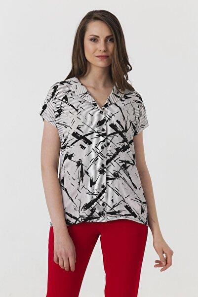 Jument Kadın Krem Desen Gömlek 4248