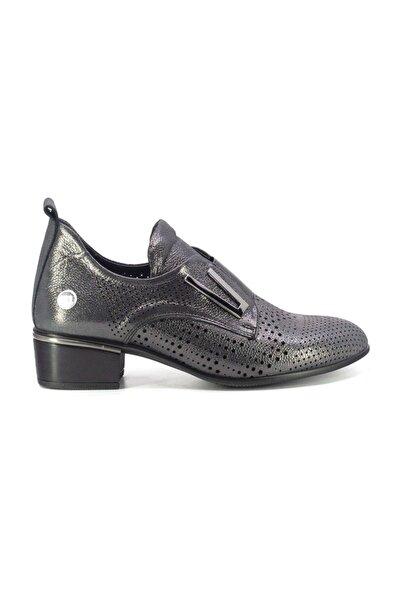 Mammamia D20YA-410 Kadın Hakiki Deri Ayakkabı Platin