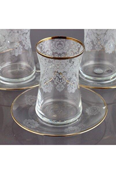 Kristal Helena Platin 6 Kişilik Dekoratif Çay Bardak Takımı