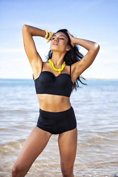 Zi Butik Siyah Yüksek Bel Bikini Alt Üst Takım