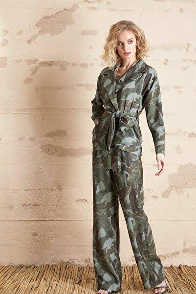 SERPİL Kadın Yaprak Desenli Pantolon
