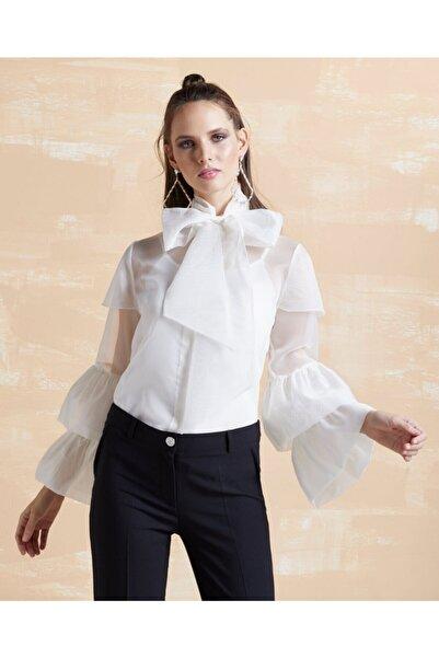 SERPİL Kadın Fırfırlı Organze Gömlek