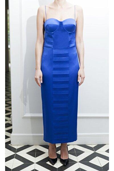ÖZLEM AHIAKIN Kadın İnce Askılı Gece Mavisi Elbise