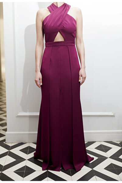 ÖZLEM AHIAKIN Kadın Önü Çapraz Bordo Uzun Elbise