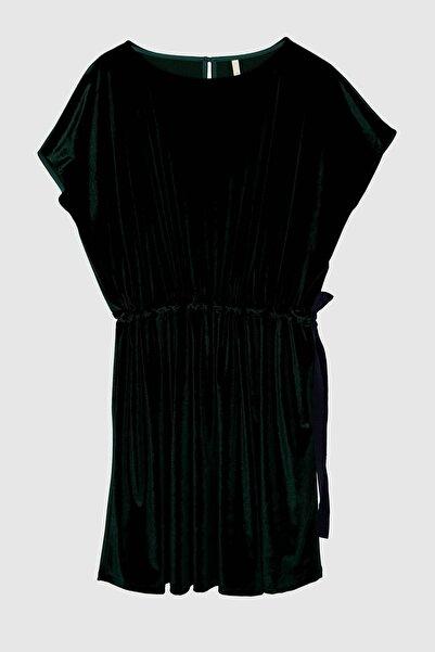 Yargıcı Kadın Yeşil Beli Büzgülü Elbise 8KKEL7126X