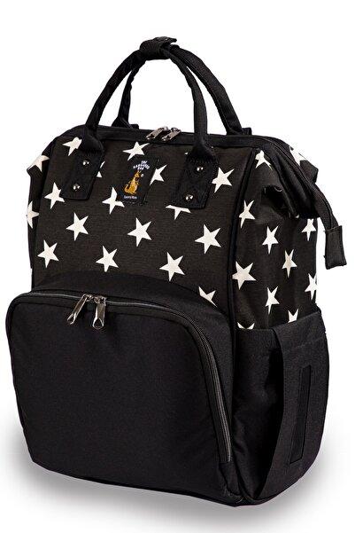 Luxury Anne Bebek Bakım Sırt Çantası Yıldızlı Siyah
