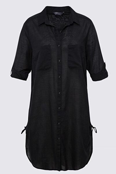 Marks & Spencer Kadın Siyah Saf Pamuklu Gömlek Plaj Elbisesi T43003445X