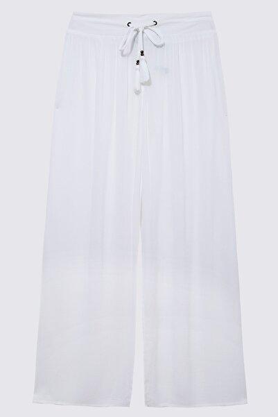 Marks & Spencer Kadın Beyaz Krinkle Pantolon T52009893