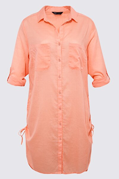 Marks & Spencer Kadın Pembe Saf Pamuklu Gömlek Plaj Elbisesi T43003445X