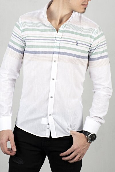DeepSEA Beyaz-yeşil Uzun Kol Gömlek 2006027