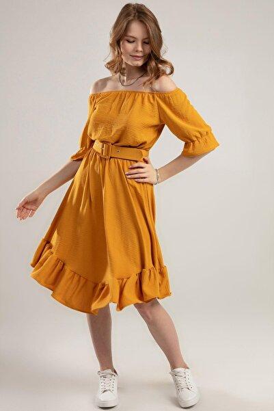 Y-London Kadın Hardal Fırfırlı Bileği Beli Lastikli Krinkıl Straplez Elbise Y20S126-10565