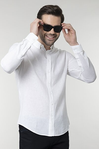 Slim Fit Keten Beyaz Erkek Gömlek