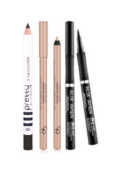 Alix Avien Eyeliner Pen Kalem Eyeliner + Golden Rose Göz Ve Dudak Aydınlatıcı Kalem + Flormar Siyah Göz Kalemi