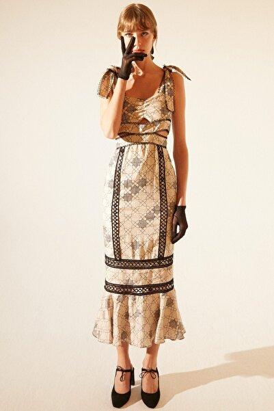 Tuba Ergin Kadın Baskılı Geometrik Desen Keten Anastasia Elbise