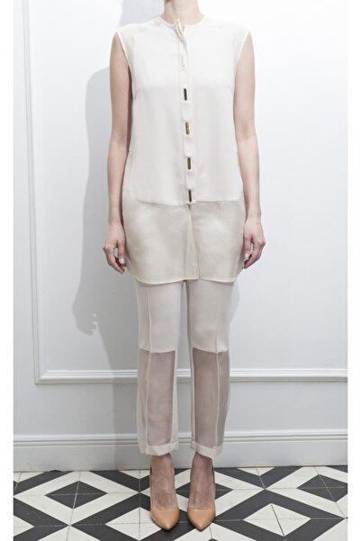 ÖZLEM AHIAKIN Organze Detaylı Bej Rengi Kumaş Pantolon