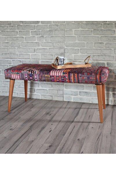 Sanal Mobilya Retro Bench Kilim Desenli