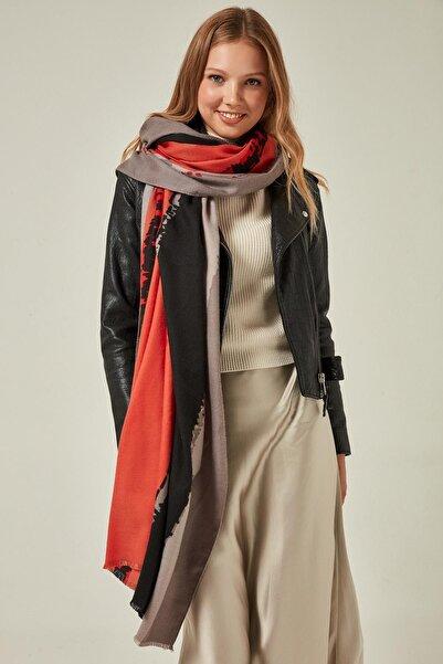 Y-London Kadın 12126 Batik Desenli Gri Kalın Şal SAL-5839