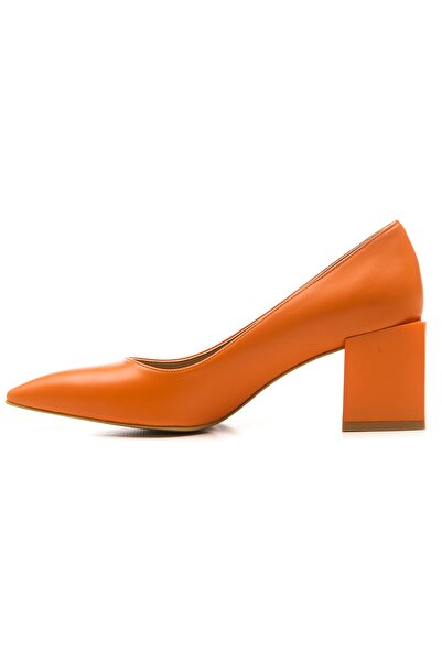 Ataköy Ayakkabı Kadın Pu Oranje Topuk Detaylı Stiletto