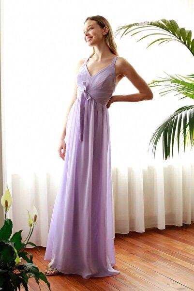 TRENDYOLMİLLA Lila Şerit Biyeli Abiye & Mezuniyet Elbisesi TPRSS20AE0256