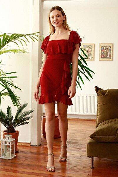 Bordo Volanlı  Elbise TPRSS20EL2371