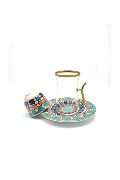 ÖzcamKristal 18 Parça 6 Kişilik Desenli Çay Takımı