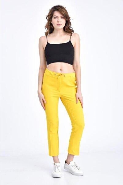 Modkofoni Kadın Belden Lastikli Ve Bağcıklı Sarı Bilek Pantolon