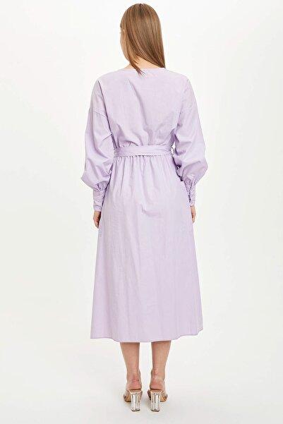 Kadın Mor Uzun Kollu Beli Kuşaklı Elbise L3882Az.19Sm.Pr33