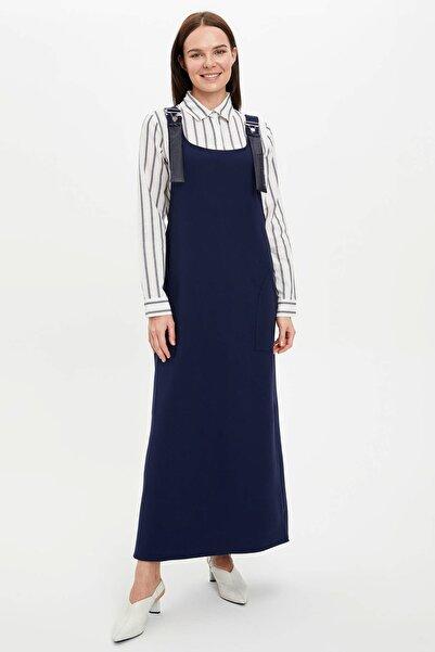 DeFacto Kadın Modest Lacivert Askı Detaylı Pileli Elbise R2830Az.20Sm.Nv125