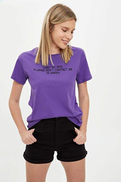Kadın Mor I'M Happy Baskılı Kısa Kollu T-Shirt R2570AZ.20SM.PR269