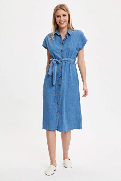 Kadın Mavi Jean Gömlek Elbise K7790AZ.20SM.NM39