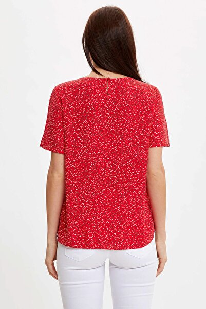 Kadın Kırmızı Desenli Bluz I3695AZ.20SM.RD85