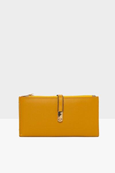 Bagmori Sarı Kadın Ince Kilitli Büyük Cüzdan M000003566