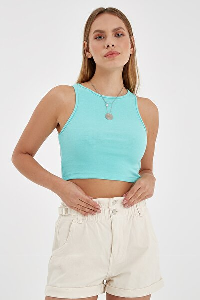 Nisan Triko Kadın Mint Yeşili Fitilli Kolsuz Crop Top