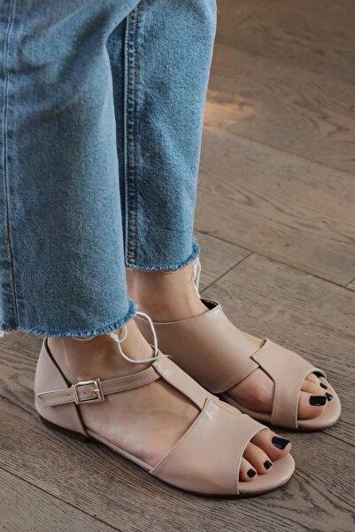 Mio Gusto Kadın Maria Ten Damalı Sandalet