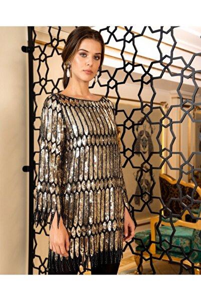 SERPİL Kadın Altın Saçaklı Payetli Elbise 30931