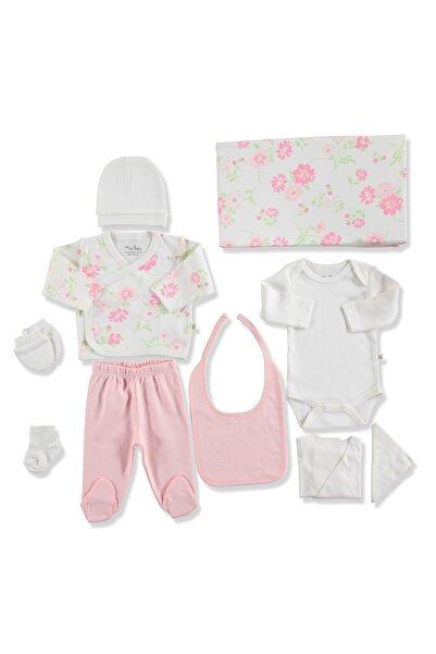20942 Çiçekli Pamuklu Kız Bebek 10'lu Hastane Çıkışı