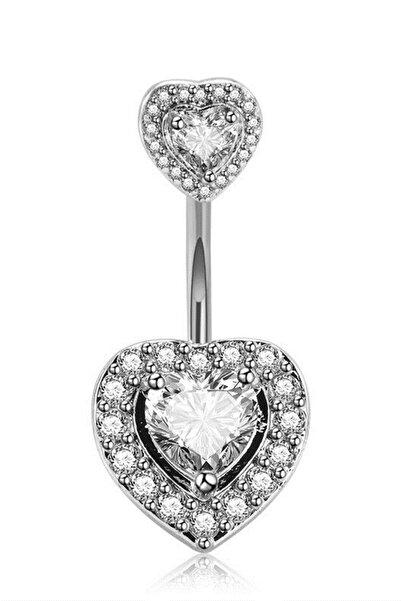 VipBT Taşlı Zirkon Kalp Göbek Piercing Gümüş Gri