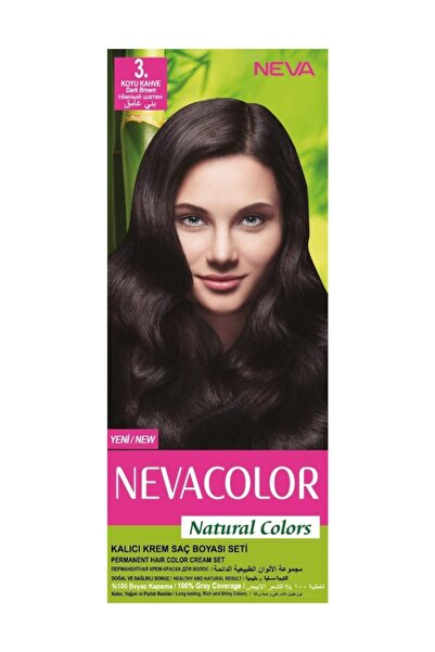 Neva Color NATURAL COLORS KALICI SAÇ BOYA SETİ  3. KOYU KAHVE