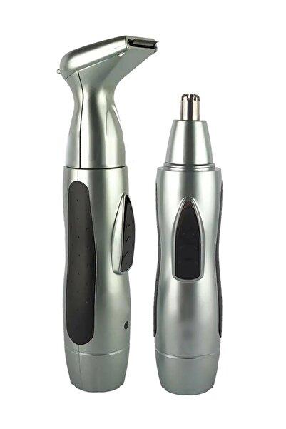 AKCMARKET Şarjlı Tıraş Makinesi Burun Ve Kulak Kılı Temizleme Ense Favori Düzeltme Traş Tüy Alma Iki Başlıklı