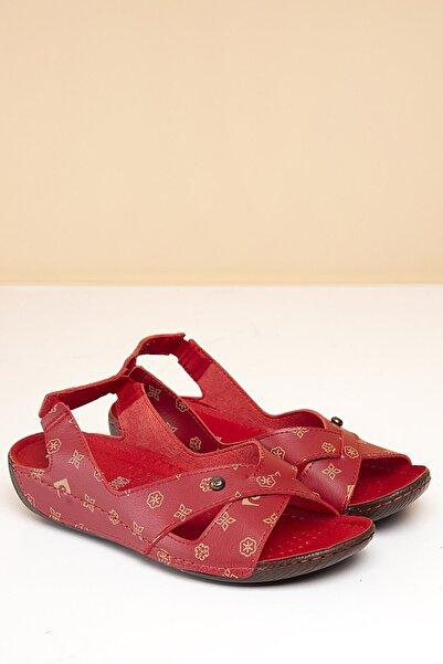 Pierre Cardin Pc-1361 Kırmızı-bej Kadın Sandalet