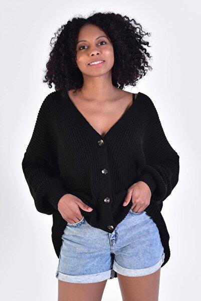 Addax Kadın Siyah Düğmeli Örgü Hırka H3071 ADX-0000022074