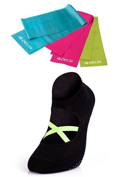 MURR 3'lü Delta Pilates Bandı Egzersiz Direnç Lastiği +Kaydırmaz Pilates Çorabı