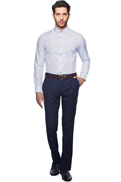 Erkek Beyaz-Mavi Tailored Slim Fit Baskılı Gömlek