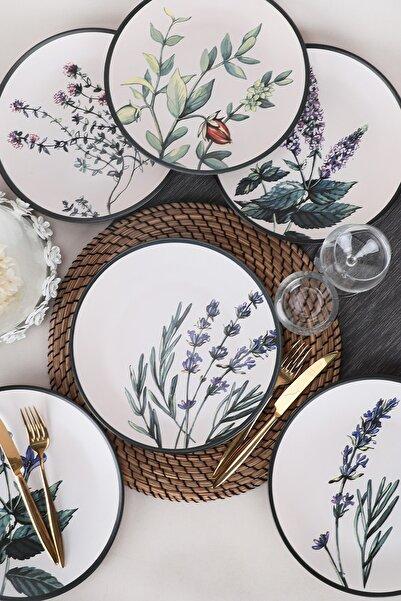 Keramika Çiçek Bahçesi Servis Tabağı 25 Cm 6 Adet - 18938-39-40-41-42-43