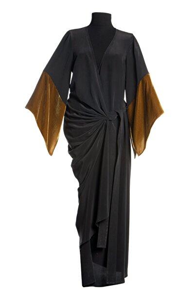 Ayşen Armağan A2 752 Kadife Garnili Ipek Elbise Siyah