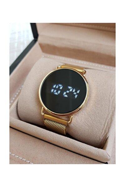 Gold Renk Mıknatıslı Kordon Dokunmatik Unisex Saat